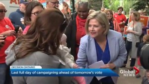 Andrea Horwath hits the road one last time in final push for votes